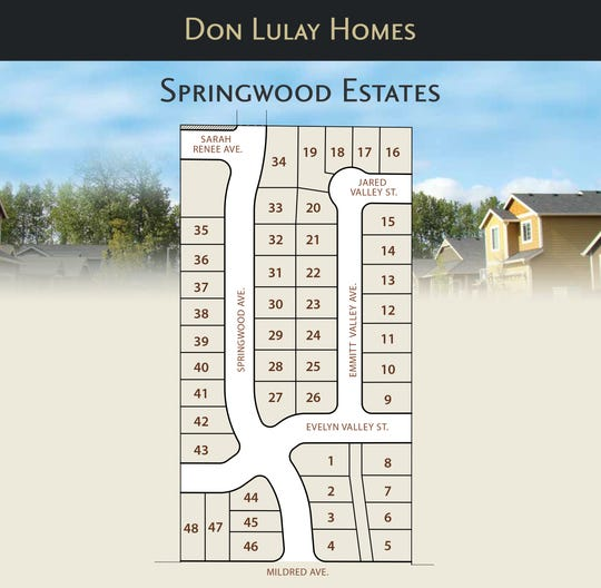 A plat map of the Springwood Estates subdivision project in South Salem.