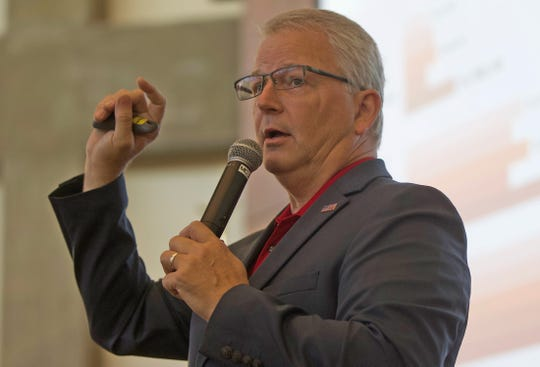 Texas Republican Party Chairman James Dickey addresses people attending an event at the San Angelo Museum of Fine Arts on Thursday, Sept. 26, 2019.