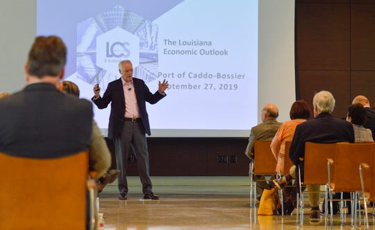 Economist Dr. Loren Scott presents his 2020-2021 economic outlook for Louisiana on Friday, Sept. 27, 2019, at the Regional Commerce Center at The Port of Caddo-Bossier.