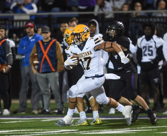 """Augustana defensive back Eli Weber (17) intercepts a pass  in the """"Key to the City"""" game at Bob Young Field on Thursday, Sept. 26, 2019."""