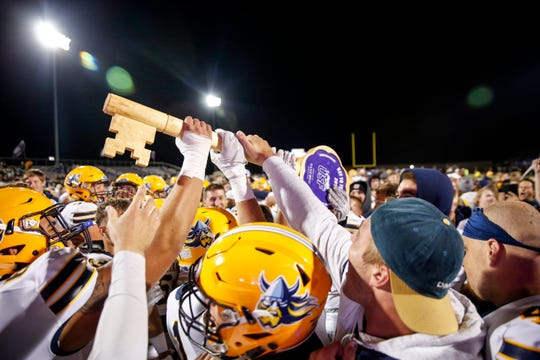 "Augustana celebrates a win against USF after the ""Key to the City"" game at Bob Young Field on Thursday, Sept. 26, 2019."