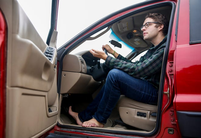 Nathan Downs of Sioux Falls, South Dakota, drives barefoot during the summer.