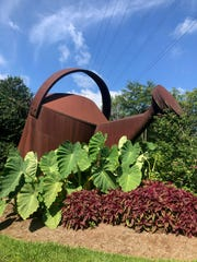 Positioned at a busy intersection, Staunton's giant watering can welcomes visitors to the city.