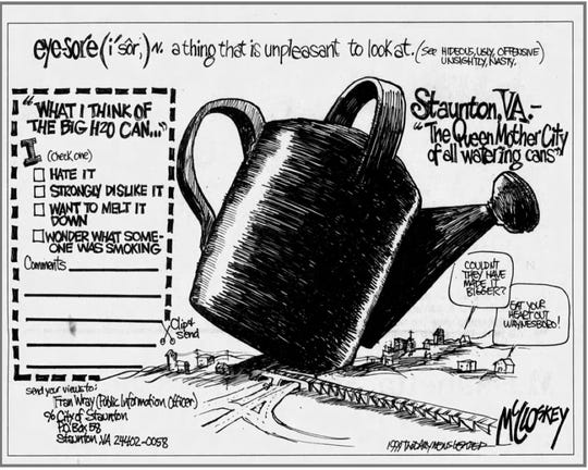 A clipping of Jim McClosky's cartoon from the June 11, 1999 edition of The News Leader.