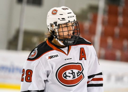 Abby Thiessen looks on before a game against Minnesota Friday, Oct. 12, 2018, at Herb Brooks National Hockey Center.