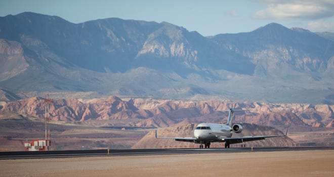 A flight comes in to St. George Regional Airport from Dallas-Fort Worth in this Spectrum file photo. Airport managers are working with a consulting firm to gather data through an online survey for a first-ever Master Plan for the airport. Residents can participate online.