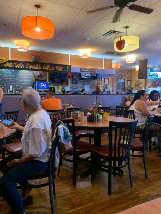 Berry Fresh Café has a bright colorful and fruity décor.