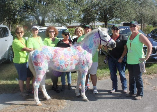 "Volunteers at the 2018 Equine Rescue Country Festival, from left, Beverly Jones, Melissa Saumure, Denise LeClaire-Robbins, Bobby Martin, Sue Rowley, Debbie Anderson, Melissa Muller and Ally Solis. Children were able to ""paint"" a horse with their handprints at the festival."