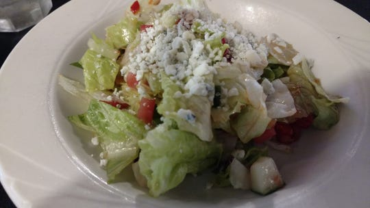 The Italian Cousin's special chopped salad is always so yummy with lots of sweet tomatoes, crisp greens and a generous sprinkling of gorgonzola cheese tossed in a full-flavored house dressing.