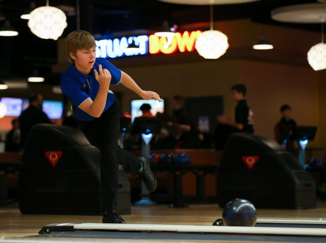 Martin County's Matthew Peterson competes against Port St. Lucie during the high school bowling match at Stuart Bowl Lanes and Lounge on Thursday, Sept. 26, 2019, in Stuart.
