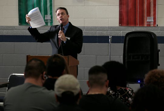 Jeffrey Dion of the National Compassion Fund spells out the method by which the One Fund El Paso money will be distributed to victims and family members during a meeting Thursday, Sept. 26, 2019, at Bonham Elementary School.