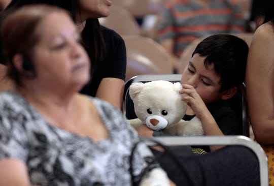 Teddy bears were given to the little ones in attendance Thursday, Sept. 26, 2019, at Bonham Elementary School, where a meeting was held to discuss how the One Fund El Paso money would be distributed.