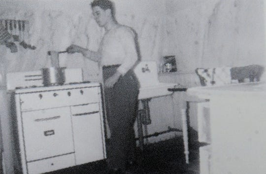 A family photo shows Ottavio Belvedere cooking in the Ottawa, Canada, apartment he and wife Noella Belvedere shared just after their marriage in 1957. The couple later opened Ottavio's Italian Restaurants in Camarillo and Thousand Oaks. The Camarillo location will celebrate its 50th anniversary with an open house on Oct. 6.