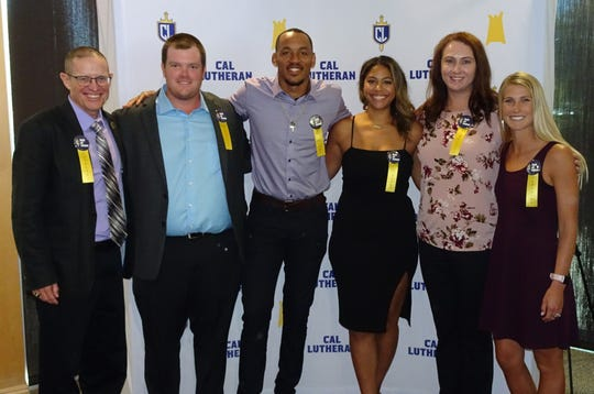 Cal Lutheran University's 2019 Alumni Association Hall of Fame Class includes Steve Blum (left to right), Mikey McGinn, Eric Rogers, Kylie McLogan, Lauren (Stroot) Reynolds, and Jackie (Russell) Griffin.