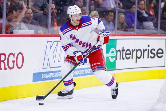 New York Rangers' Jacob Trouba in action during the second period of a preseason NHL hockey game against the Philadelphia Flyers, Saturday, Sept. 21, 2019, in Philadelphia. The Flyers won 4-1.
