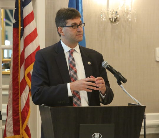 New Castle County Executive Matt Meyer was the keynote speaker Friday morning at a breakfast meeting held by the New Castle County Chamber of Commerce.