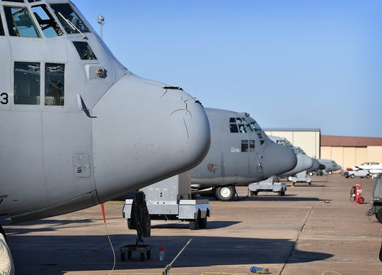 Several C-130 cargo aircraft are used for training crew chiefs at Sheppard Air Force Base. SAFB also trains students for work on bomber, tankers and other heavy aircraft. SAFB will host the Guardians of Freedom Open House & Air Show this Oct. 26-27.