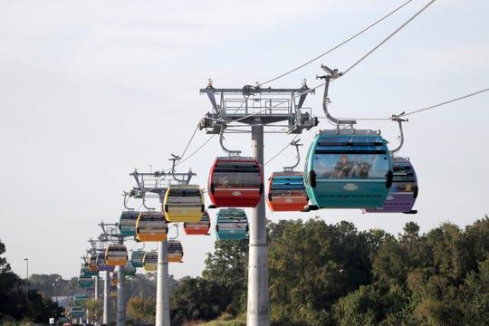 Disney World's Skyliner aerial trams begin operating Sunday.