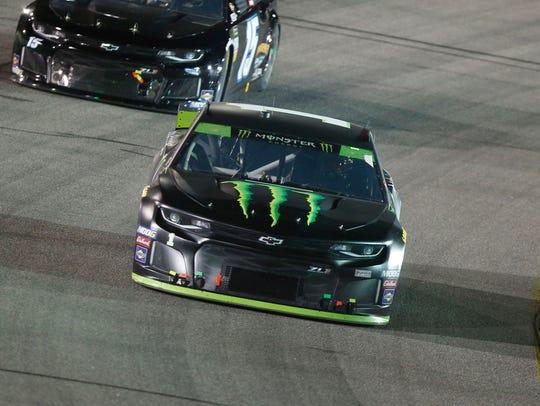 Kurt Busch, front, enters Sunday's elimination race at Charlotte Motor Speedway below the cutline.