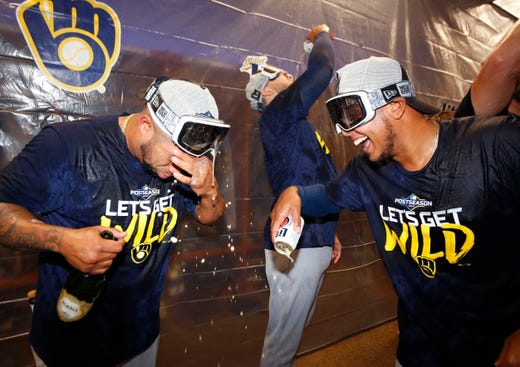 Brewers celebrate at the club.