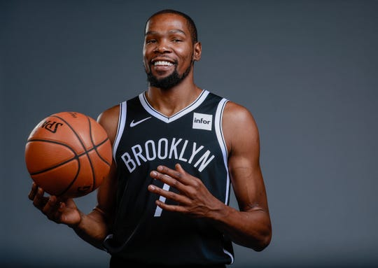 Brooklyn Nets forward Kevin Durant poses for a portrait.