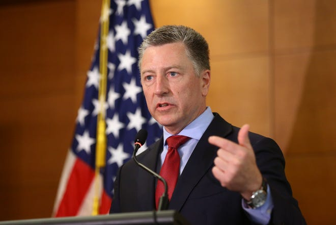 Kurt Volker, US Special Representative for Ukraine Negotiations, attend his press briefing in Kiev, 27 July 2019. US President Trump's lawyer Rudy Giuliani allegedly reached out to several aides to the Ukrainian President Zelensky, inlcuding Bakanov, as it is mentioned in a whistleblower's complaint over Trump's dealings with Ukraine. The whistleblower alleges that Trump had demanded Ukrainian investigations into US Presidential candidate Joe Biden and his son Hunter Biden's business involvement in Ukraine.