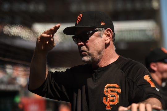 Manager Bruce Bochy led the Giants to three World Series titles.