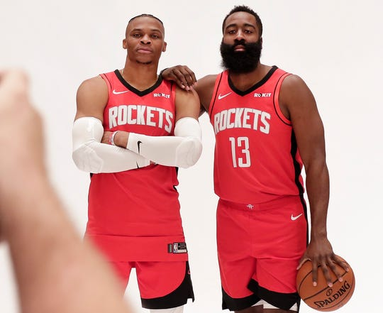 Houston Rockets' Russell Westbrook and James Harden are photographed together.