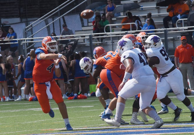 LC quarterback Sal Palermo (4) throws a pass against Hardin-Simmons University Cowboys Saturday, Sept. 28, 2019 in a Division III game held at Wildcat Stadium in Pineville. Despite a 2-4 start for the Wildcats, Palermo has found his footing as the team's starting quarterback.