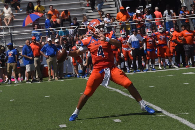 Louisiana College quarterback Sal Palermo throws a pass against the Hardin-Simmons University Cowboys Saturday, Sept. 28, 2019 in a Division III game held at Wildcat Stadium in Pineville.