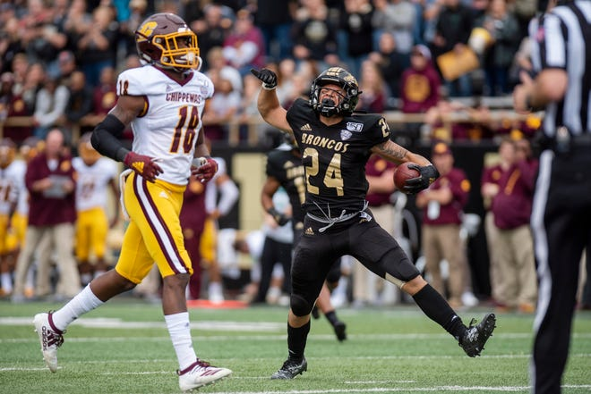 Western Michigan wide receiver Skyy Moore (24) receives a pass during the Battle for the Cannon between Western Michigan and Central Michigan on Saturday, Sept. 28, 2019 at Waldo Stadium in Kalamazoo, Mich.