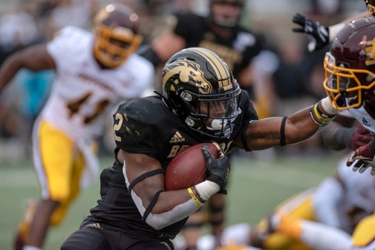 Western Michigan running back LeVante Bellamy (2) rushes the ball during the Battle for the Cannon against Central Michigan on Saturday, Sept. 28, 2019 at Waldo Stadium in Kalamazoo, Mich.