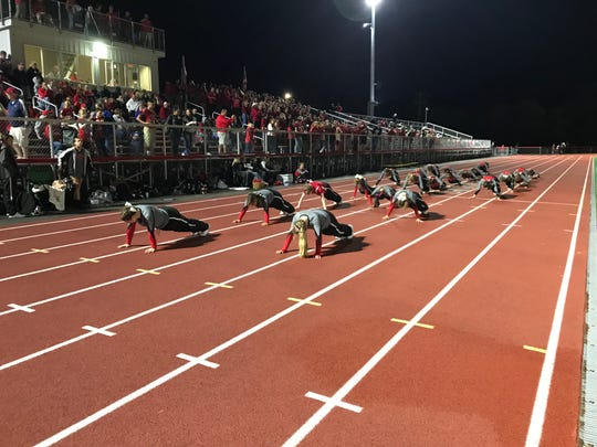 CV's cheerleaders do a pushup-per-point, and had a taxing Friday night.