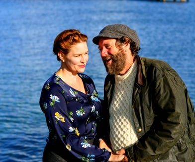 "Crystal Eisele and Eric Ray Anderson star in Key City Public Theatre's ""Sea Marks."""