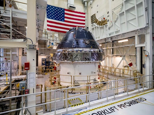 NASA completed building the Orion crew capsule for the first Artemis lunar mission, seen here, in June 2019.