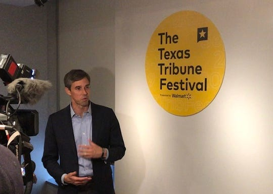 Democratic presidential candidate Beto O'Rourke speaks at the Texas Tribune Festival in Austin, Texas, on Saturday, Sept. 28, 2019.