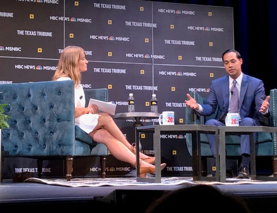 Democratic presidential candidate Julian Castro is interviewed by MSNBC's Katy Tur in Austin, Texas, Sept. 28, 2019.