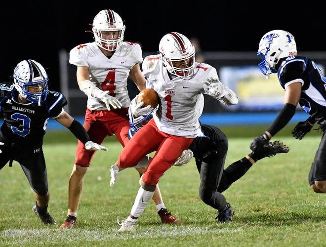 Lenape's Xavier Coleman, seen here in a game against Williamstown from last September, will have to wait for his chance to run with the football as the Indians will open their season at least one week later than originally scheduled.