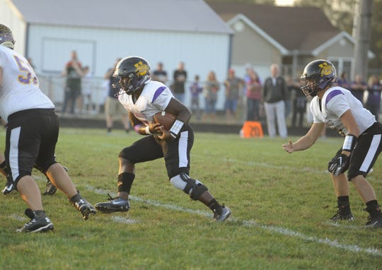 Unioto running back Jamarcus Carroll runs the ball during a 28-21 loss to Adena on Friday, September 27, 2019 in Frankfort, Ohio.