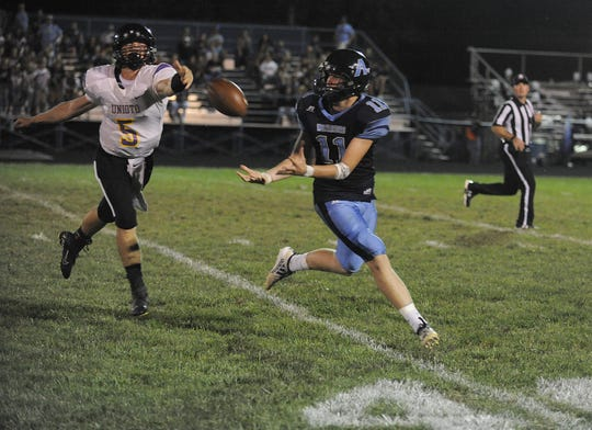 Adena wide receiver Logan Bennett catches a pass during a 28-21 win over Unioto on Friday, September 27, 2019 in Frankfort, Ohio.