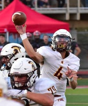 Turpin quarterback Justin Silverstein eyes a completed pass for the Spartans as they go on the road and take down Kings 27-24, Sept. 27, 2019.