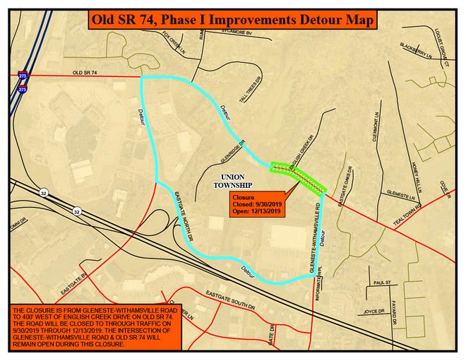 A portion of Old State Route 74 in Union Township will be closed for more than two months beginning Monday, Sept. 30, as part of a road-widening project.