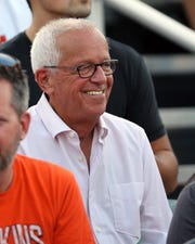 Marty Brennaman takes in a high school football game at Anderson High School Friday, September 27, 2019.