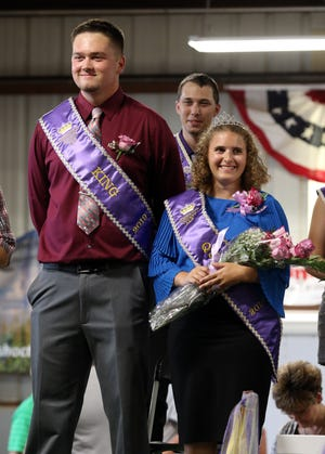 Cale Bible, left, was named King of the 2019 Coshocton County Fair on Friday. Brett Kinzel was named Queen.