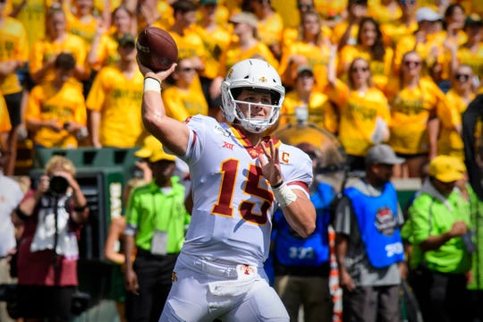 Sep 28, 2019; Waco, TX, USA; Iowa State Cyclones quarterback Brock Purdy (15) passes against the Baylor Bears during the first quarter at McLane Stadium.