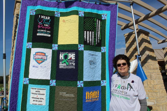 Debbie Rolek created this quilt after losing her son to Suicide in July. While coping she found the National Alliance on Mental Illness and attended the NAMIWalk Iowa event in Johnston Saturday morning.