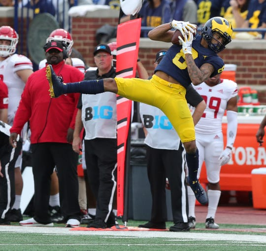 Michigan wide receiver Ronnie Bell makes a catch during the second half of U-M's 52-0 win on Saturday, Sept. 28, 2019, at Michigan Stadium.