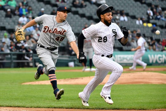 Detroit Tigers starting pitcher Matthew Boyd (48) throws to first base for the out in the third inning against Chicago White Sox center fielder Leury Garcia (28) at Guaranteed Rate Field.