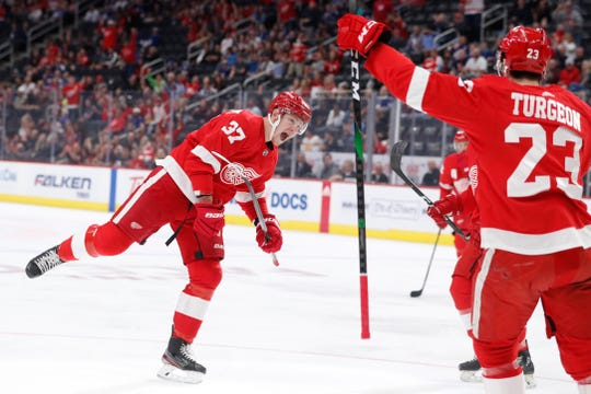 Detroit Red Wings right wing Evgeny Svechnikov (37) reacts after his goal during the first period against the Toronto Maple Leafs on Friday, Sept. 27, 2019, in Detroit.