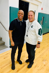 Eastern Michigan University basketball coach Rob Murphy, who is from Detroit, with Michigan State basketball coach Tom Izzo.